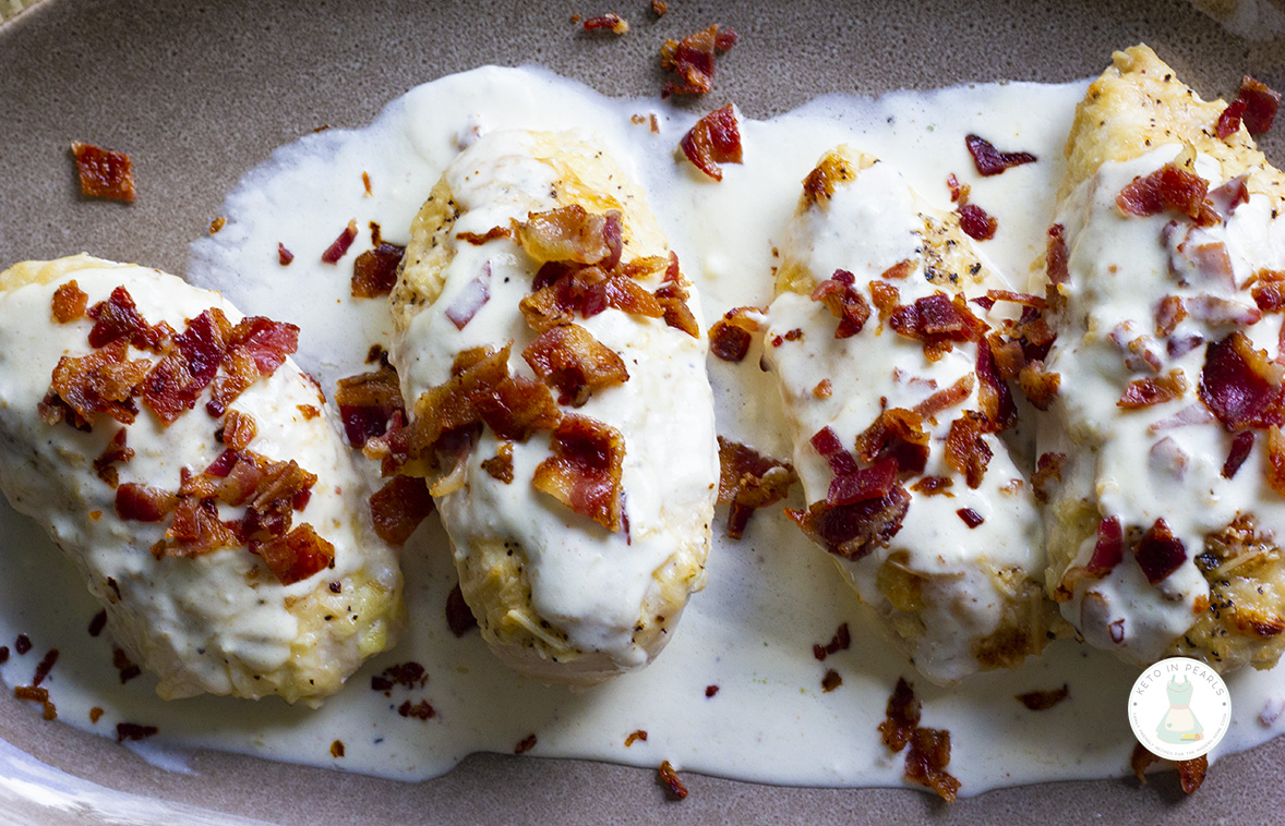 This recipe for keto chicken with bacon cream sauce is the most popular recipe on my blog. See what all the fuss is about with this amazing keto recipe!