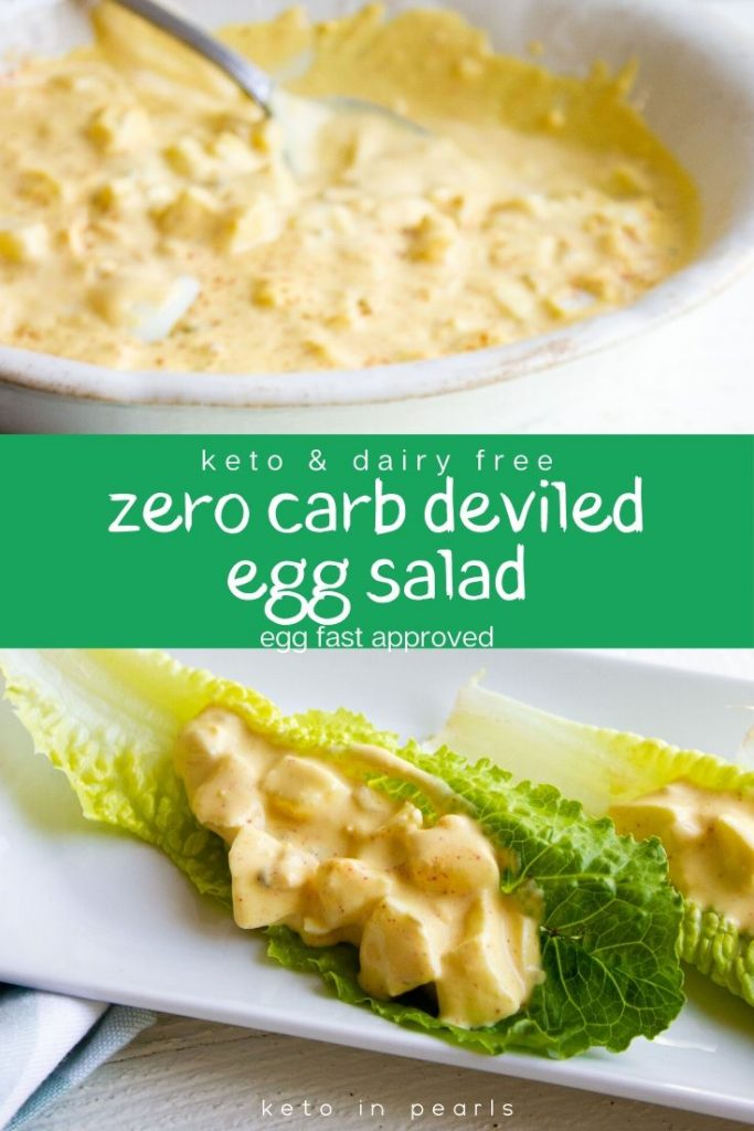 Never worry about perfectly peeled eggs again with this easy, zero carb, and dairy free recipe for keto deviled egg salad. Perfect for a keto lunch box.