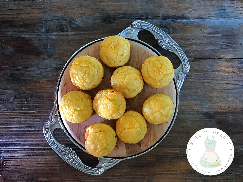 Grain free and gluten free keto cornbread muffins.