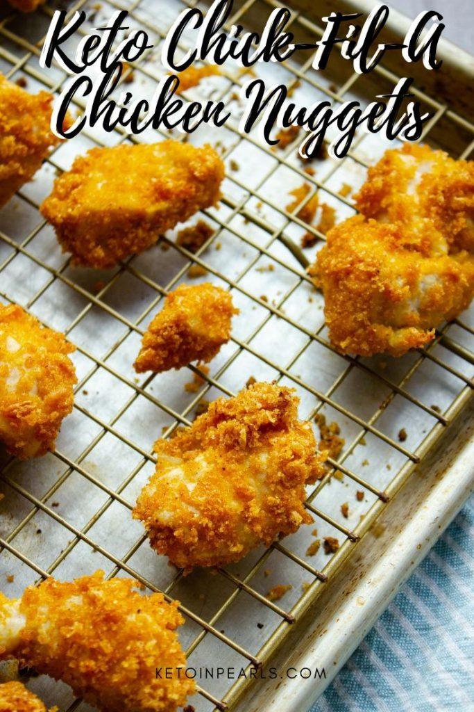 Zero carb keto chicken nuggets are grain free and nut free. A keto Chick-Fil-A copycat chicken nugget perfect with sugar free keto Chick-Fil-A sauce.