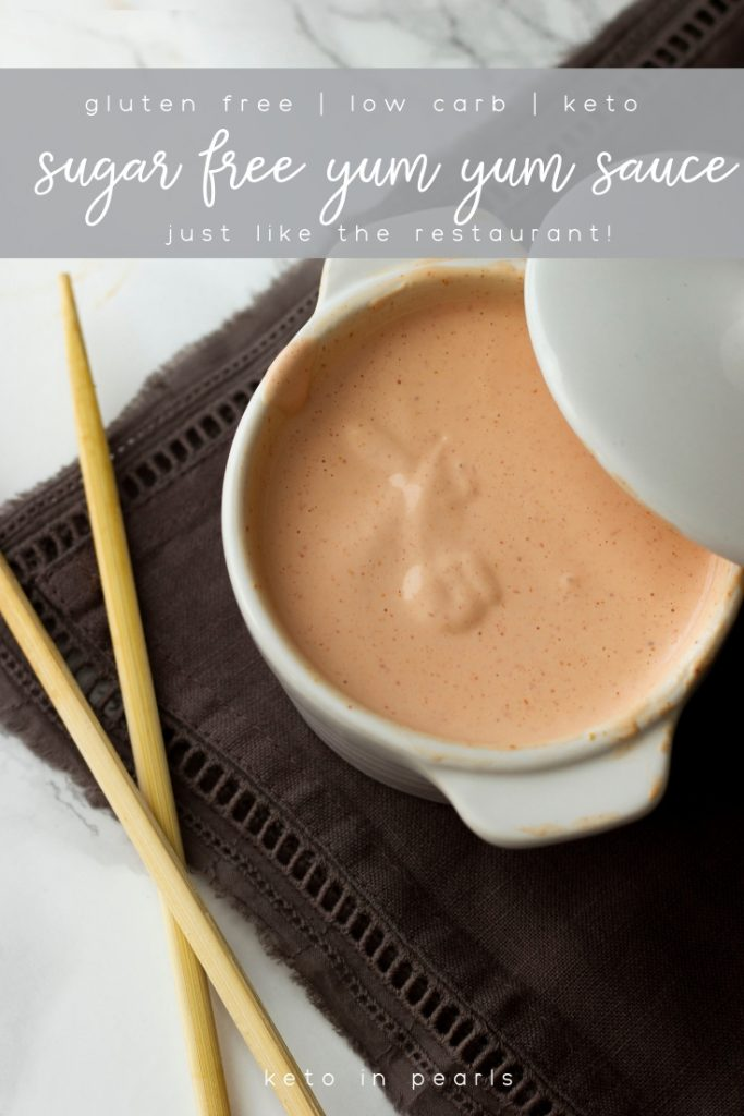 Keto yum yum sauce that tastes just like the hibachi restaurant! Zero sugar, ultra low carbs, and Paleo approved. Perfect for fried cauliflower rice, burgers, salads, and dipping!
