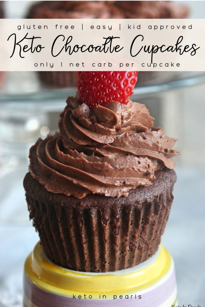 Sugar free, gluten free, and low carb chocolate cupcakes! Basic ingredients and easy enough for a weeknight treat! Only 1 net carb per cupcake.