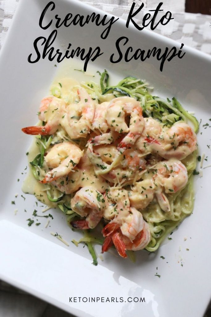 This one pot creamy keto shrimp scampi is an easy keto 30 minute meal. Only 5 net carbs per serving for this kid friendly keto meal.