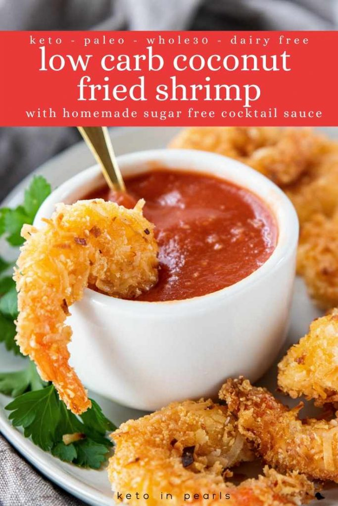 Basic low carb ingredients and 20 minutes are all you need for these low carb coconut fried shrimp. A recipe for sugar free cocktail sauce is included too!