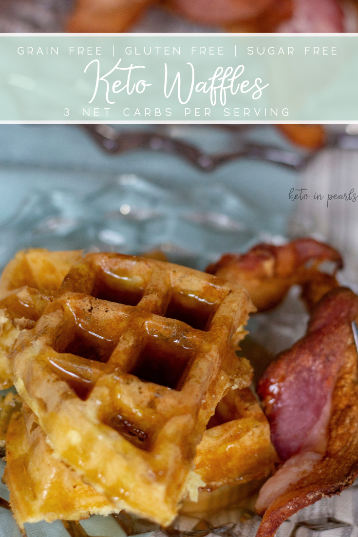 Fluffy keto waffles fit for a lazy Saturday morning! Only 3 net carbs per serving and perfect paired with your favorite sugar free maple syrup.