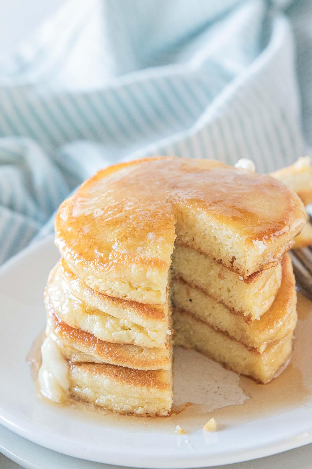 Stack of almond flour keto pancakes.