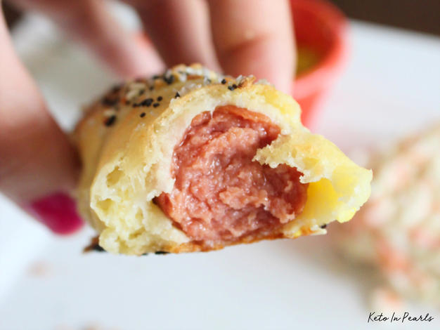 Keto pigs in a blanket! Ready in less than 30 minutes and only 5 net carbs per serving! The best kid friendly keto recipe!