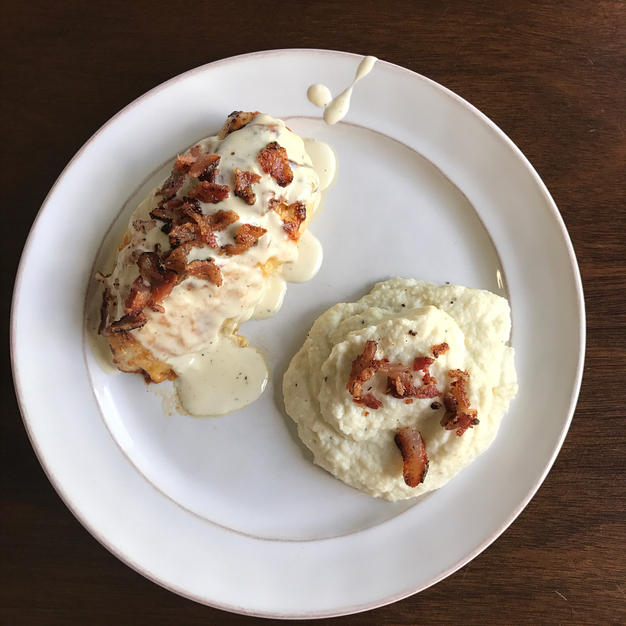 Parmesan Crusted Chicken with Bacon Cream Sauce