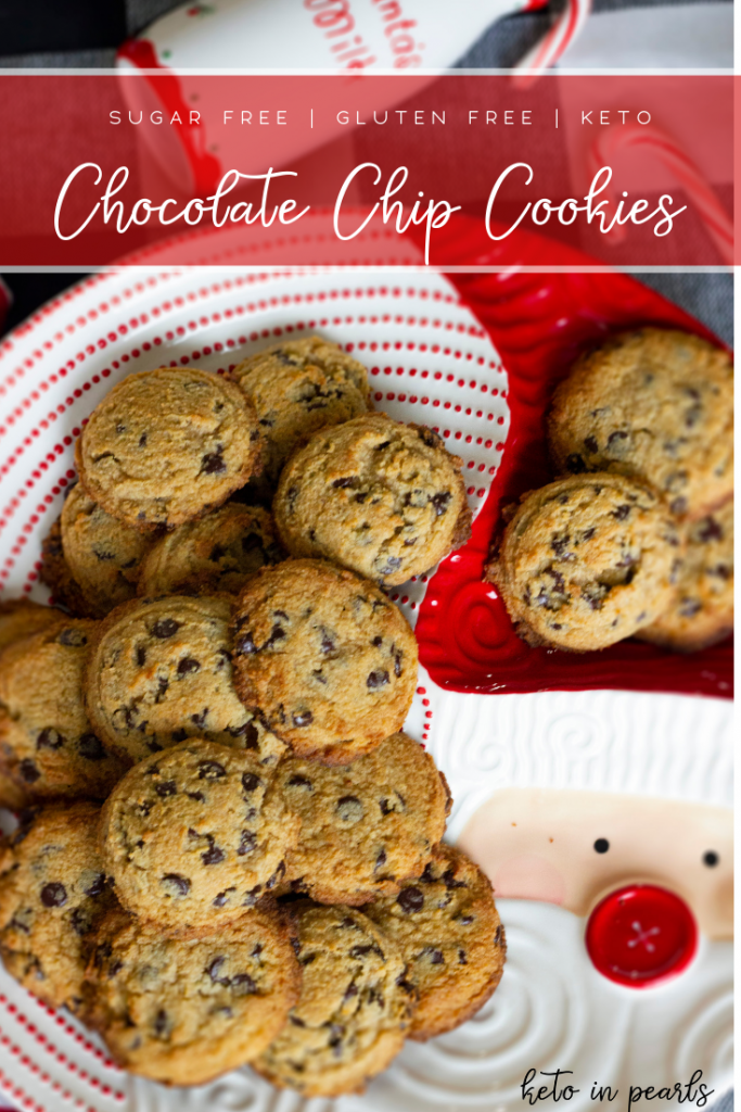Soft and chewy keto chocolate chip cookies! Just like mom used to make but only 2 net carbs each and gluten free! An easy recipe with basic ingredients!