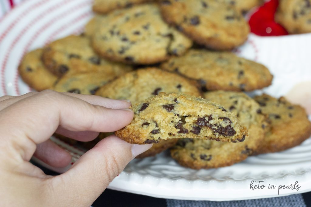 Sugar free chocolate chip cookies. These gluten free and keto friendly cookies will become your family's new favorite cookie!