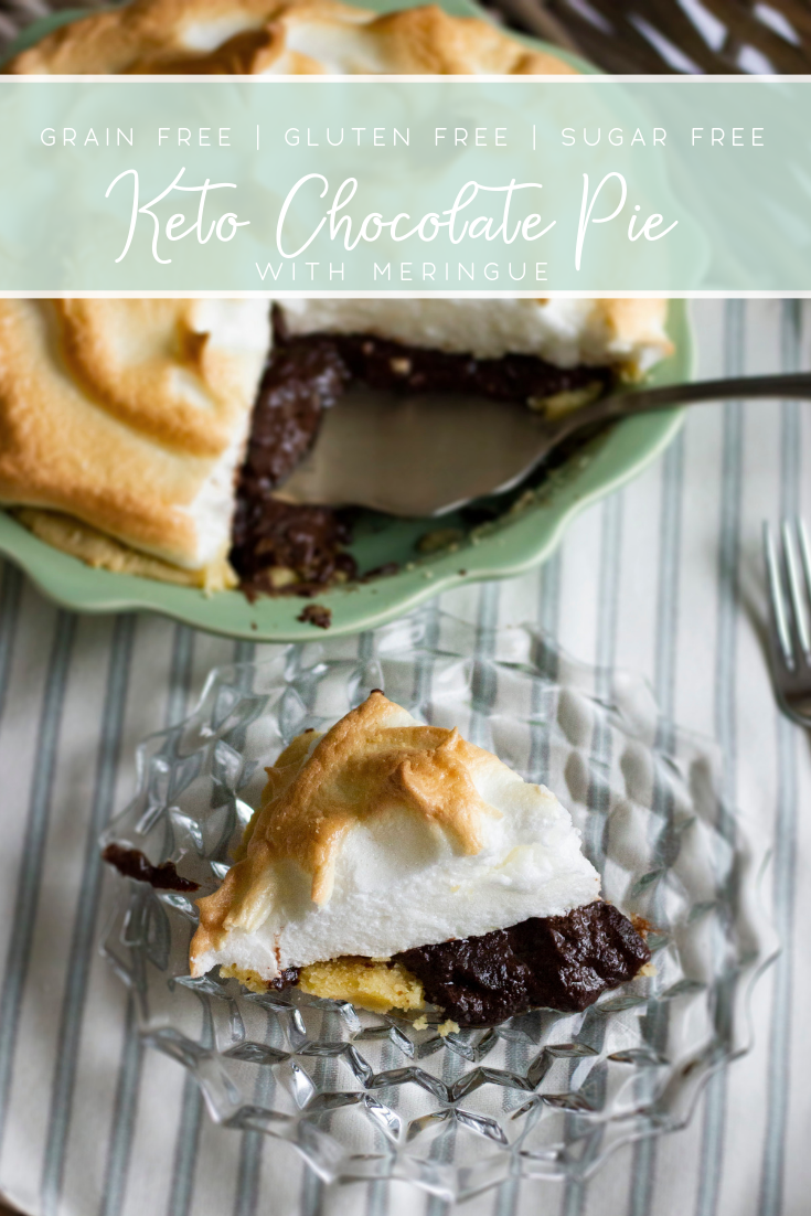 Keto chocolate pie with mile high meringue. Only 3 net carbs per serving and basic ingredients!
