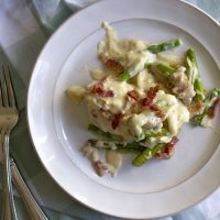 Chicken and Asparagus with White Cheddar Mornay Sauce