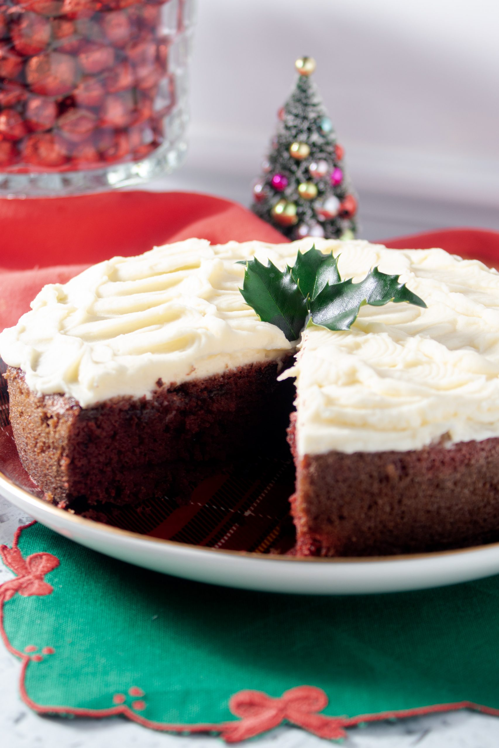 Festive low carb and sugar free red velvet cake.