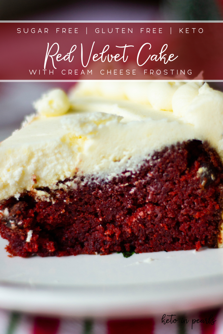 Rich and velvety Keto Red Velvet Cake with Cream Cheese Frosting. Less than 3 net carbs per serving and basic gluten free ingredients!