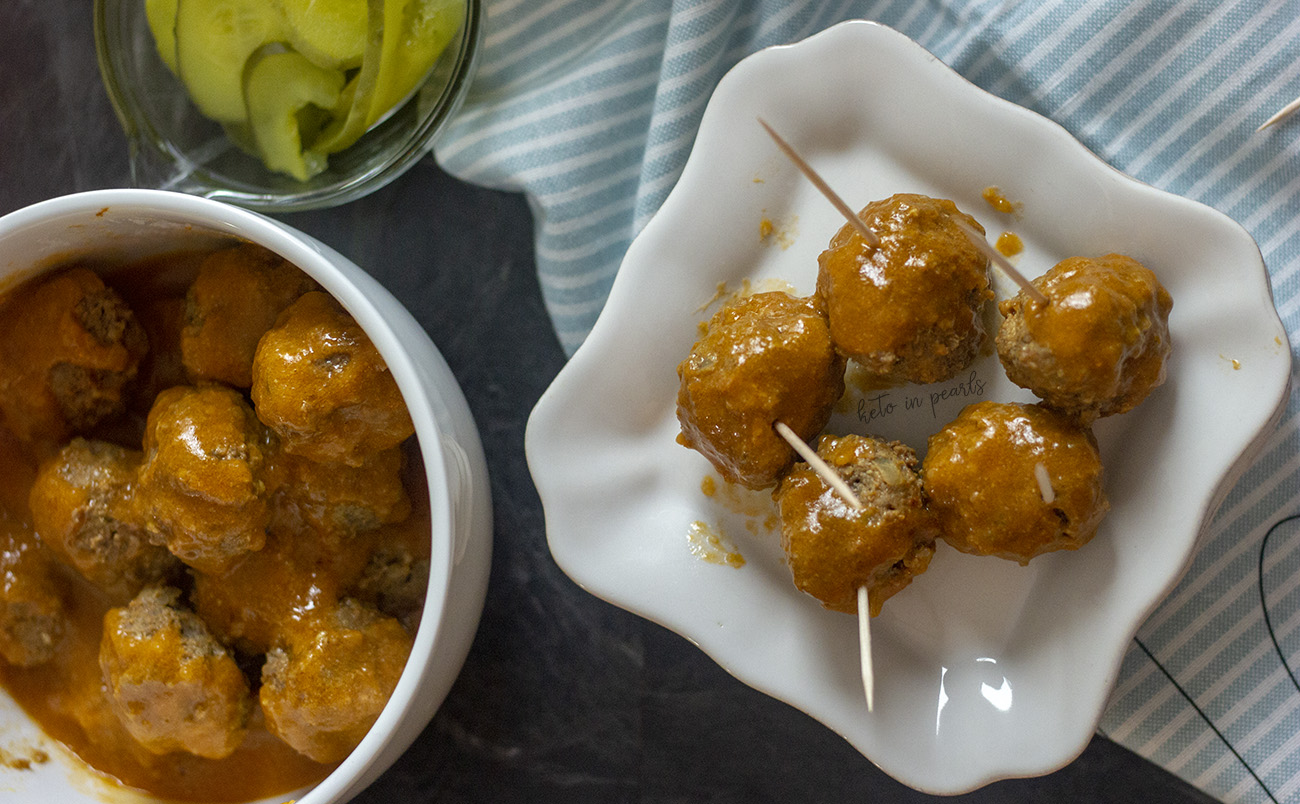 Keto hamburger meatballs that taste just like a Krystal burger! Plus a tangy dipping sauce. Only 3.5 net carbs for 6 meatballs! Perfect for a keto Super Bowl party!