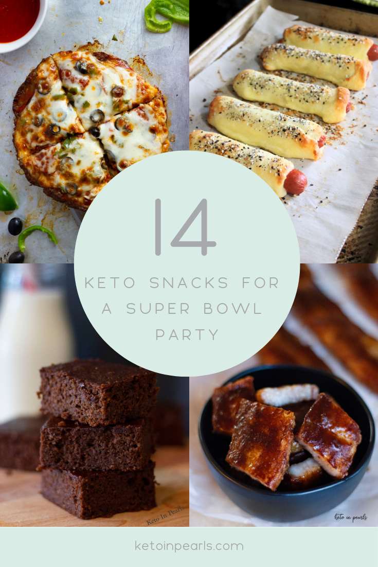 14 keto party appetizers and snacks for the best keto Super Bowl party! Keto desserts, crock-pot recipes, and snacks that all your guests are sure to love.