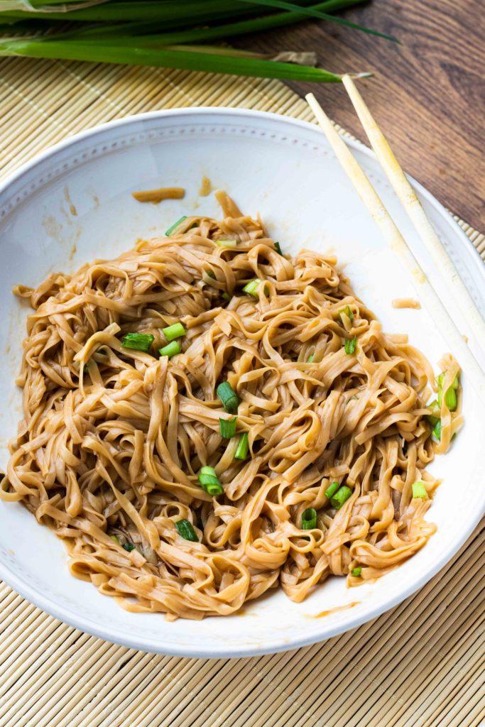 Keto lo mein made with shirataki noodles.