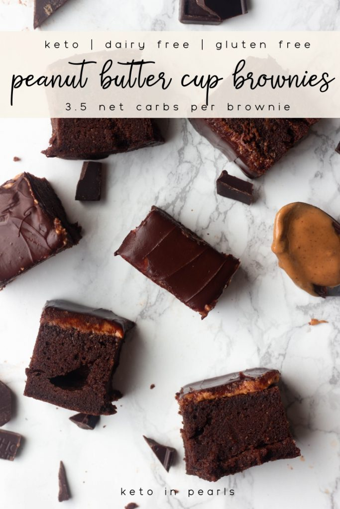 A dairy free brownie with a chocolate peanut butter layer! These chocolate peanut butter keto brownies are only 3.5 net carbs and sinfully delicious! If you miss chocolate peanut butter cups, you're going to love these!