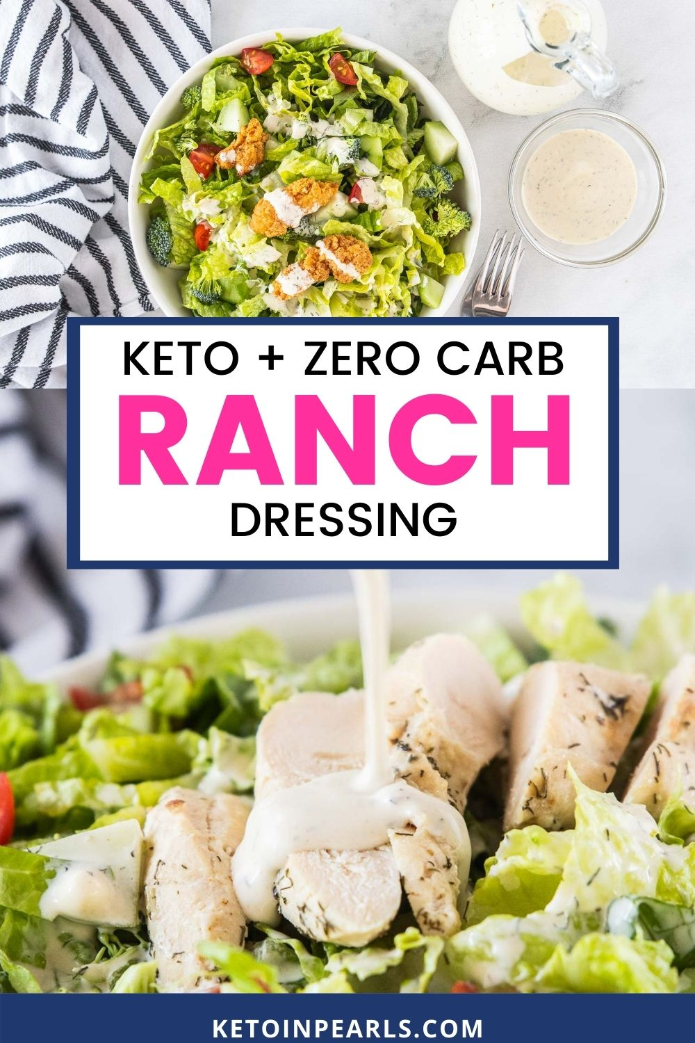 Ditch the preservative filled dressings and skip the expensive organic dressings by making this easy homemade keto ranch dressing recipe! With only 4 ingredients, you can make an entire batch of zero carb ranch dressing that's dairy free, paleo, and Whole30 approved.