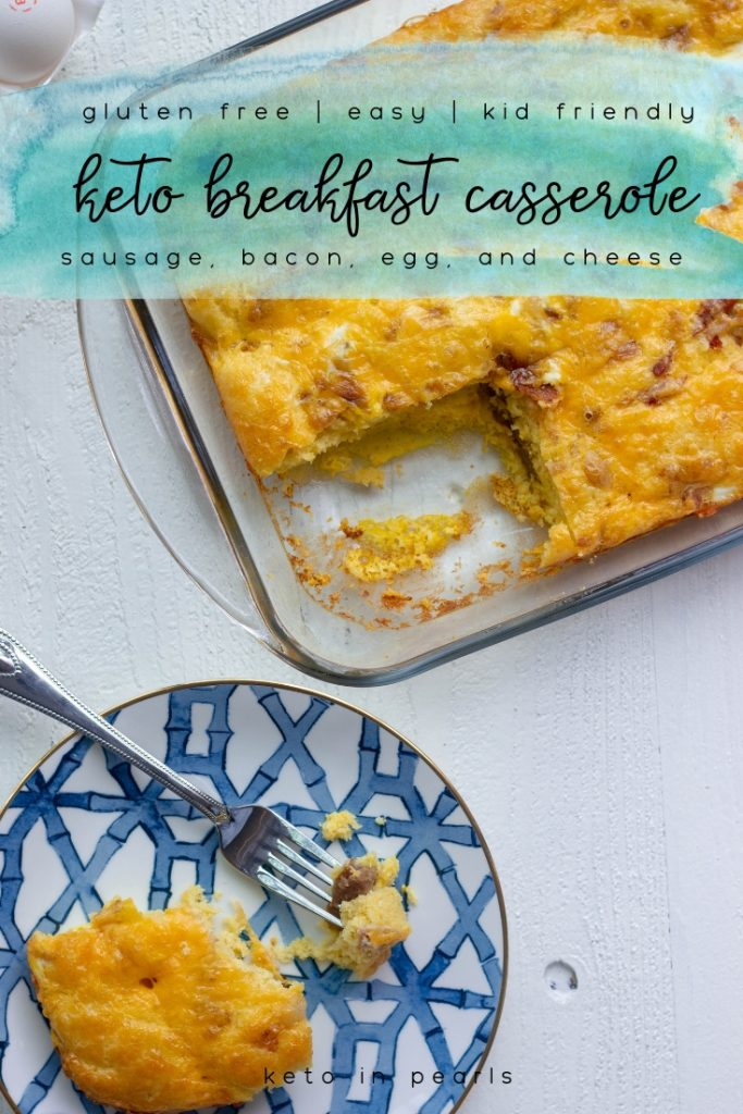 A keto breakfast casserole with bacon, sausage, egg, cheese, and a buttery keto friendly bread. Perfect for meal prep and just 3.5 net carbs per serving!
