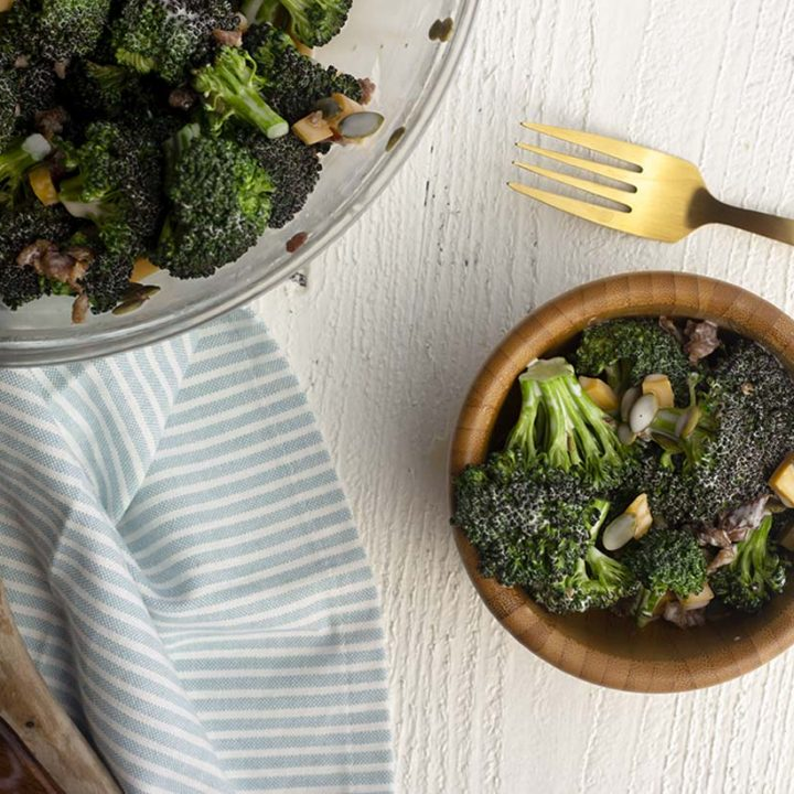 5 ingredient keto broccoli salad! Perfect for summer days by the pool, meal prep, or cook-outs! Dairy free and gluten free!