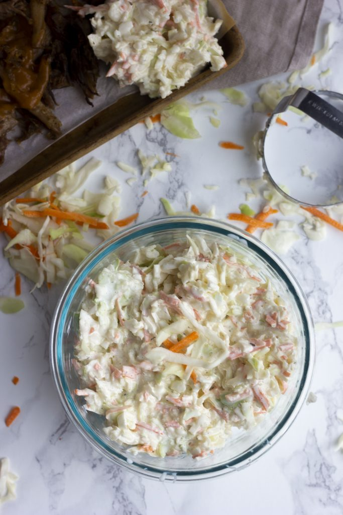 This easy keto coleslaw is perfect for your summer bar-b-que and cookouts! It takes just 10 minutes to whip up this sugar free coleslaw. Only 2.3 net carbs per serving.