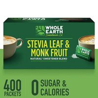 WHOLE EARTH SWEETENER Stevia Leaf and Monk Fruit Sweetener, Erythritol Sweetener, Sugar Substitute, Zero Calorie Sweetener, 400 Stevia Packets