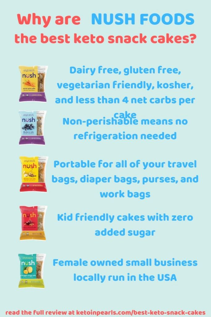 If you're looking for pre-packaged keto snack cakes that are low in carbs and big on flavor, then Nush Foods cakes are for you!
