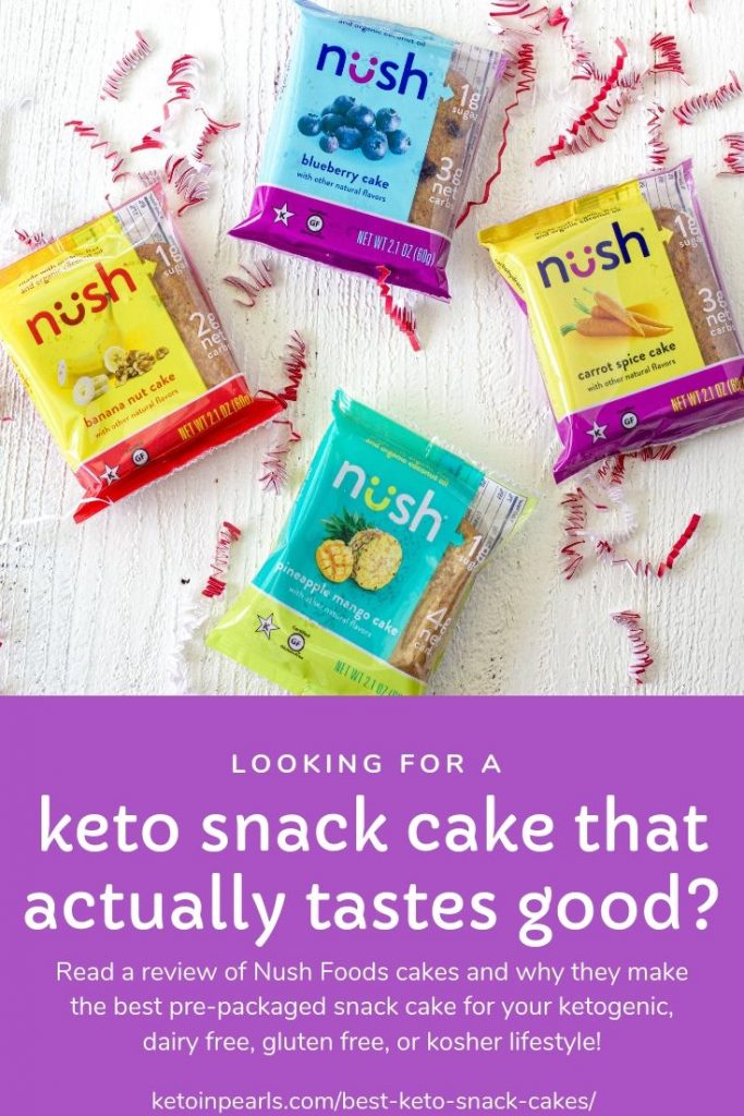 If you're looking for pre-packaged keto snack cakes that are low in carbs and big on flavor, then Nush Foods cakes are for you! See why I love this brand and their mission in my review of Nush Foods.