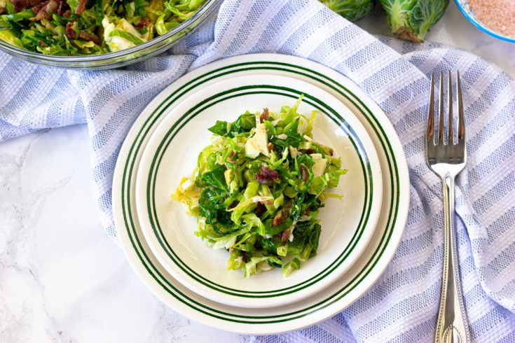 Keto Brussel Sprout Salad with Hot Bacon Dressing