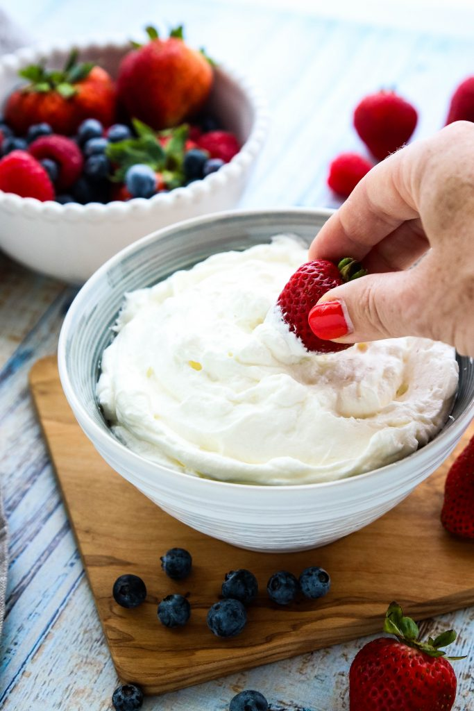 Sugar free keto cool whip made with just 3 ingredients. Better than whipped cream, keto cool whip is perfect for cake frostings, dipping fruit, or trifles.