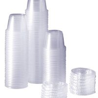 [100 Sets - 1 oz.] Plastic Disposable Portion Cups With Lids, Souffle Cups
