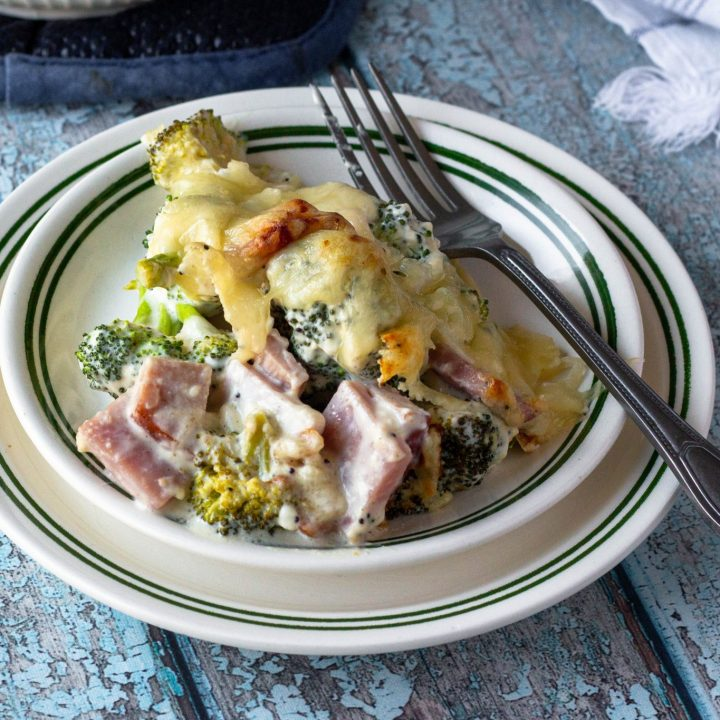 Keto Ham Casserole with Swiss Cheese and Broccoli