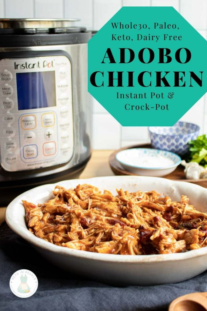 This quick and easy keto adobo chicken is a deliciously savory chicken for all of your Keto Mexican recipes. This dairy free, paleo, and Whole30 adobo chicken is bursting with smoky and spicy notes. Use in your tacos, nachos, or salads!