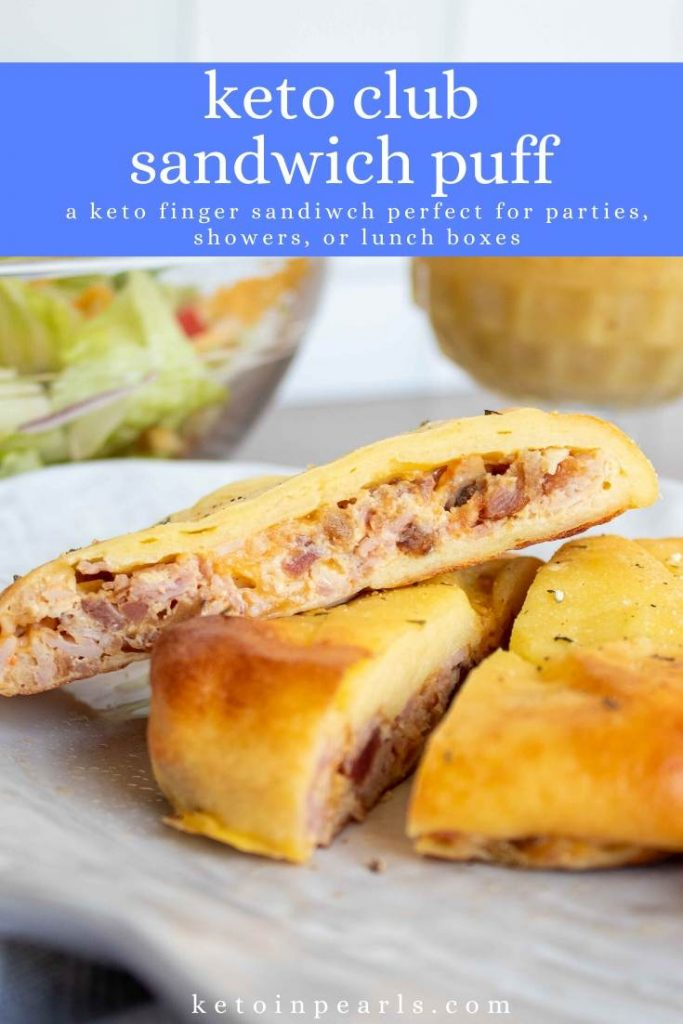 This low carb and keto club sandwich puff is a great finger sandwich or party appetizer! Cut into various sizes for party snacks or serve in slices for lunch. Whether you're hosting a shower or packing a picnic, this keto club sandwich puff is the perfect finger food to serve!