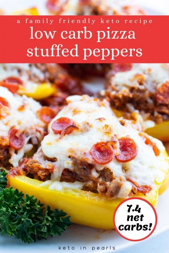 Next time the pizza craving hits, satisfy it with these low carb pizza stuffed peppers! They're the perfect alternative for a keto friendly pizza night. Plus, they're low carb and kid friendly!