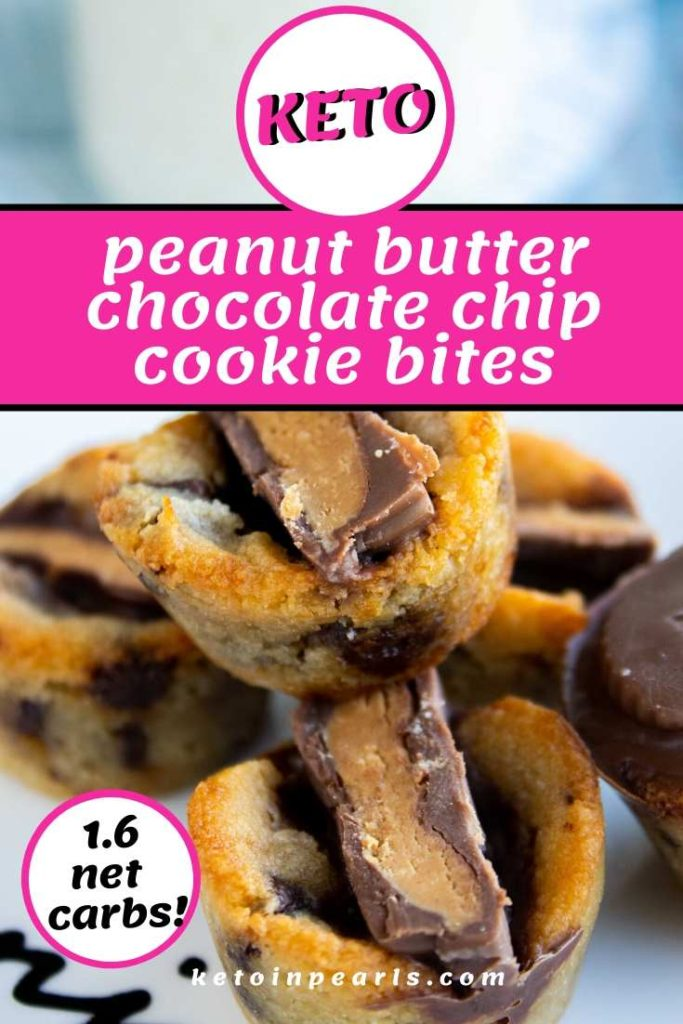 What's better than chocolate and peanut butter? A chocolate chip keto cookie stuffed with a keto peanut butter cup! That's right, these chocolate chip peanut butter cup keto cookie bites are miniature bites of heaven AND they're only 1.6 net carbs each!