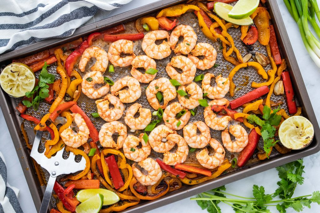 Keto Chili Lime Shrimp and Peppers on a sheet pan