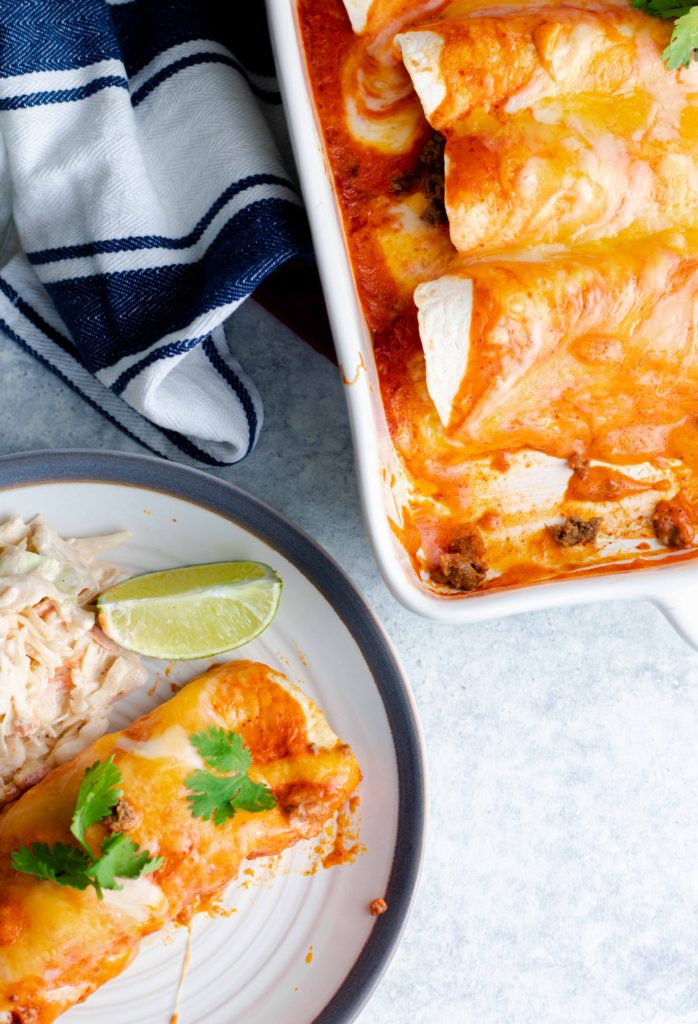 Low carb beef enchiladas with Mexican coleslaw.