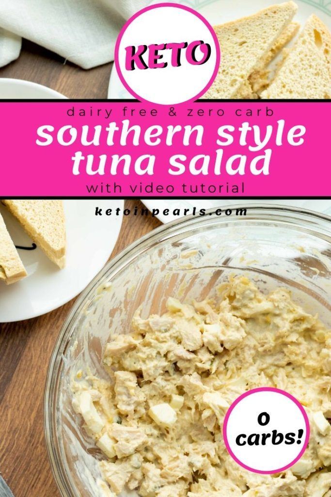 A classic southern inspired keto tuna salad with sugar free relish and hard boiled eggs. This tuna salad recipe is both dairy free and zero carb.