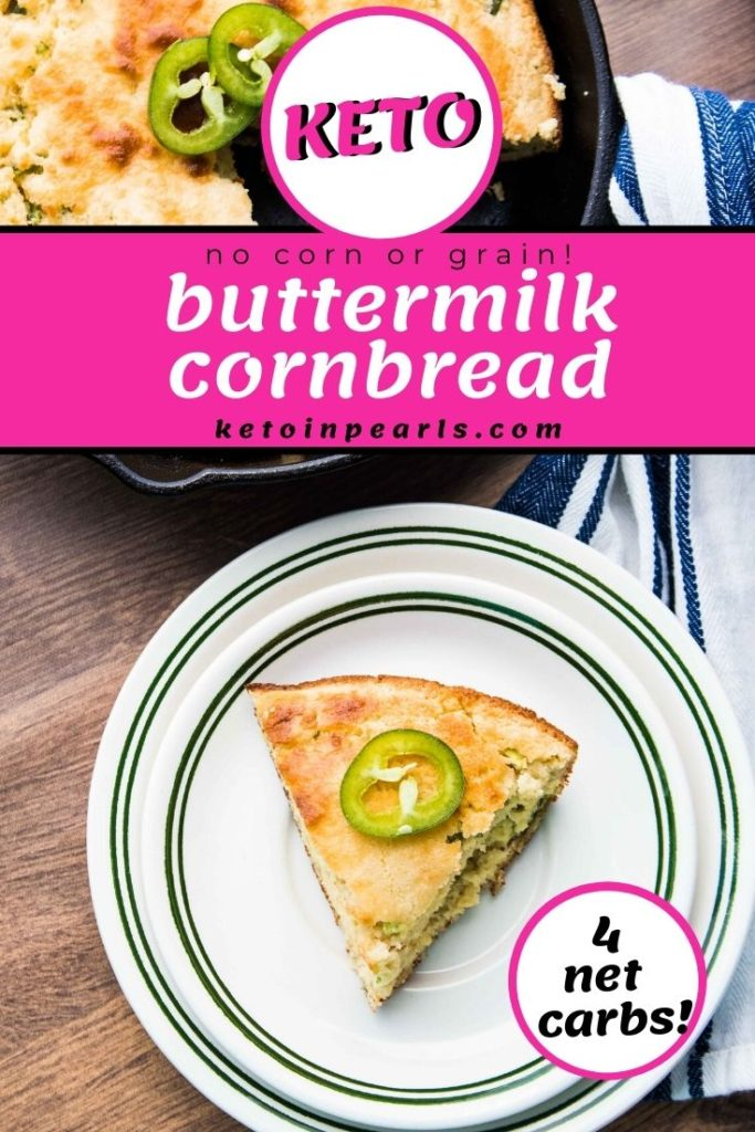 Southern style keto buttermilk cornbread that tastes just like a hushpuppy! Crispy edges, a soft crumb, and the tang from buttermilk make this the best low carb buttermilk cornbread ever.