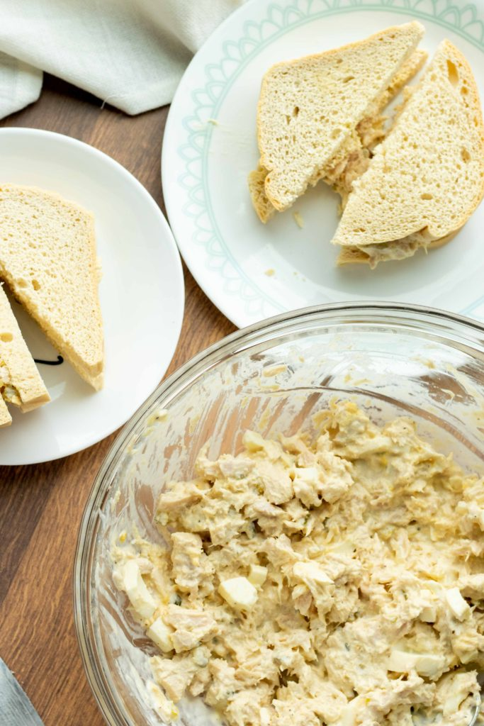 Dairy free, sugar free, zero carb keto tuna salad pictured with toasted low carb bread.