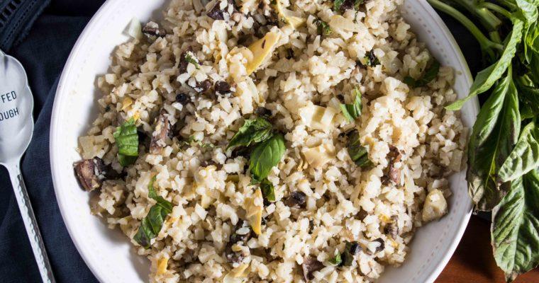 Keto Cauliflower Rice with Mushrooms and Artichokes