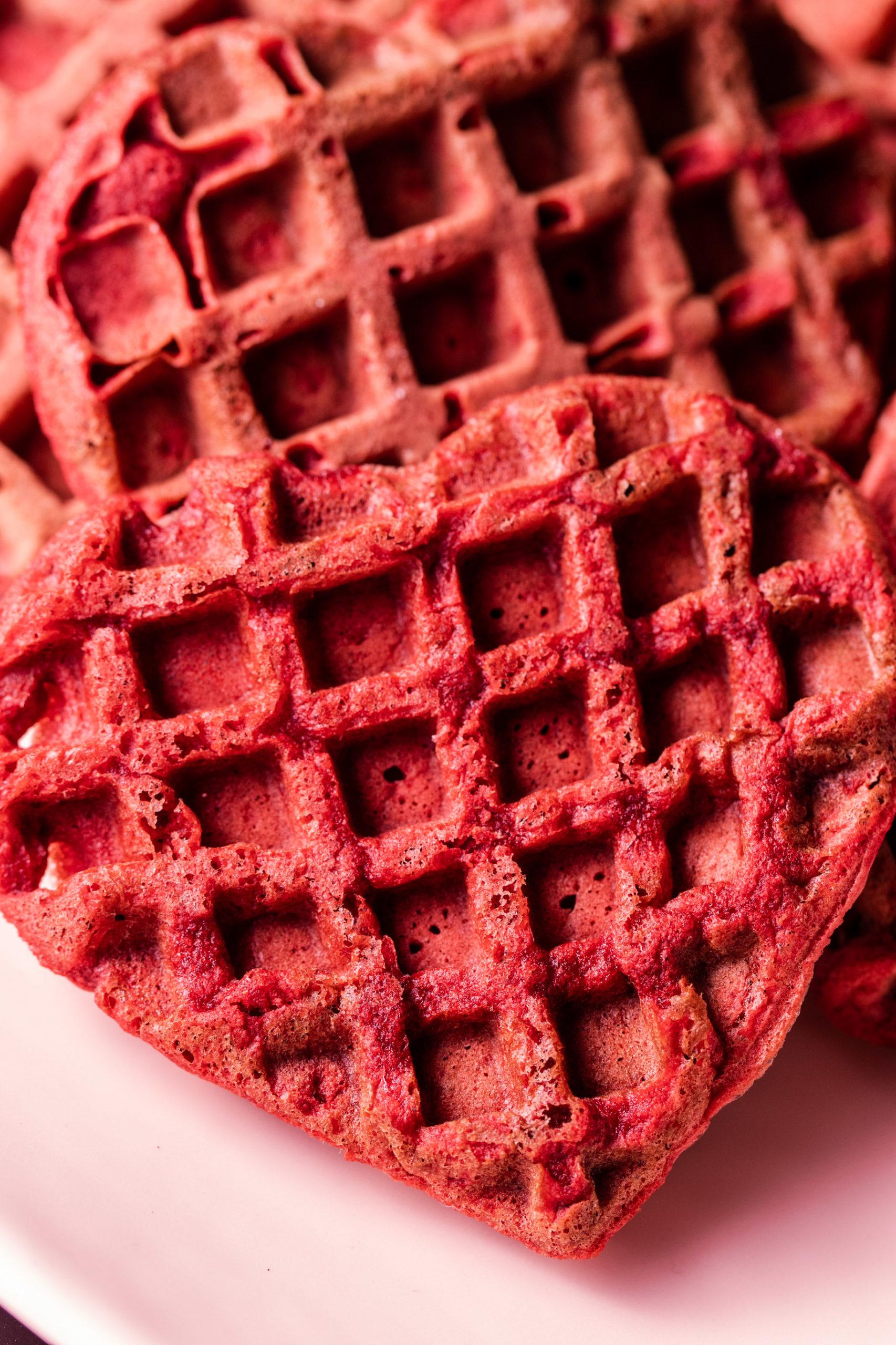 Keto red velvet heart shaped waffle