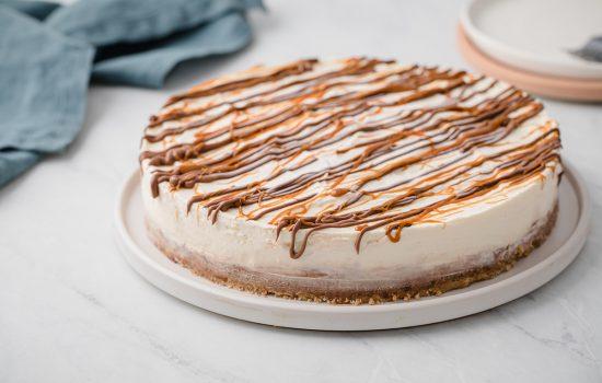 Keto Turtle No-Bake Cheesecake with Pecan Crust