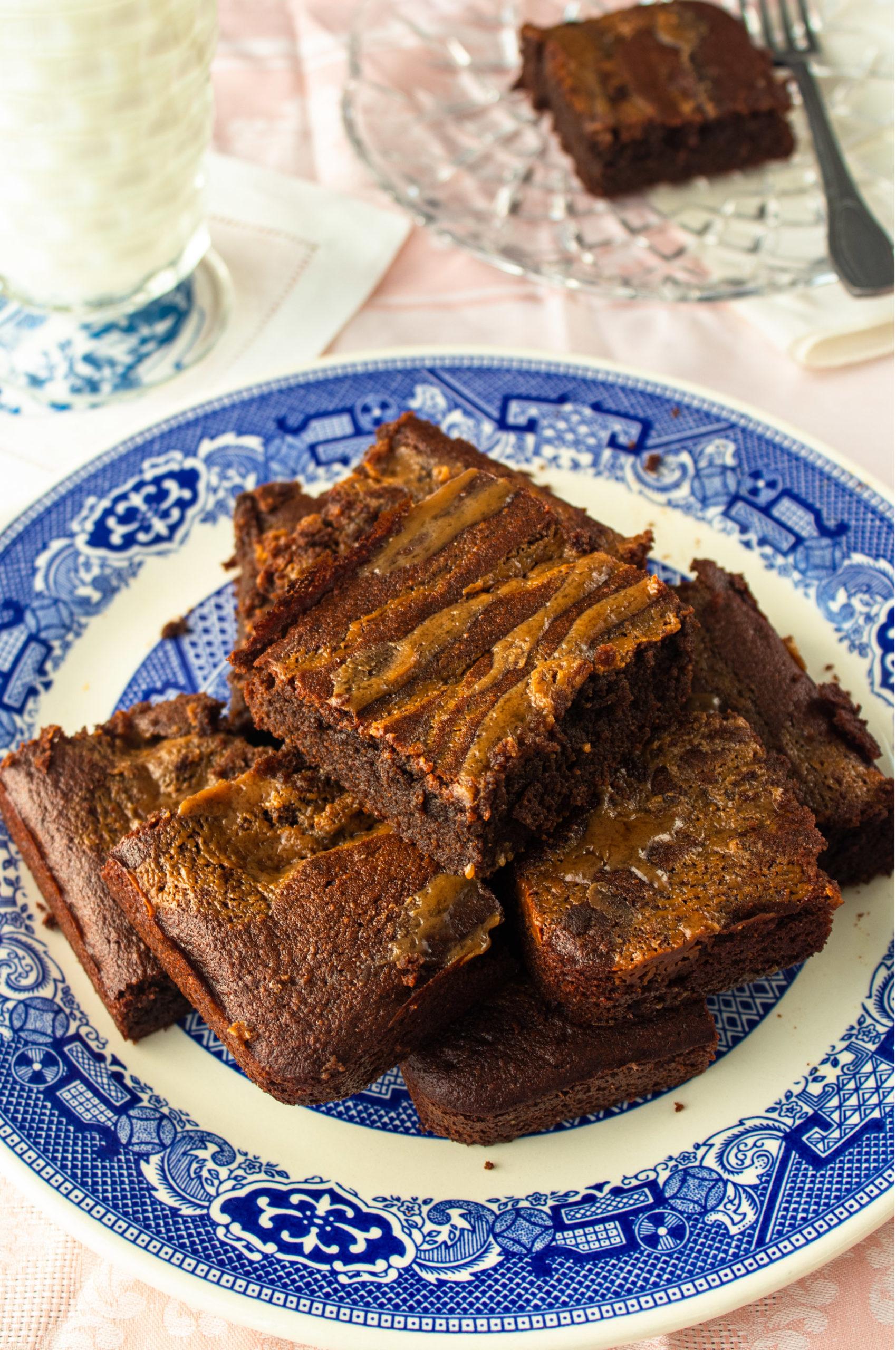 Chocolate caramel gluten free brownies