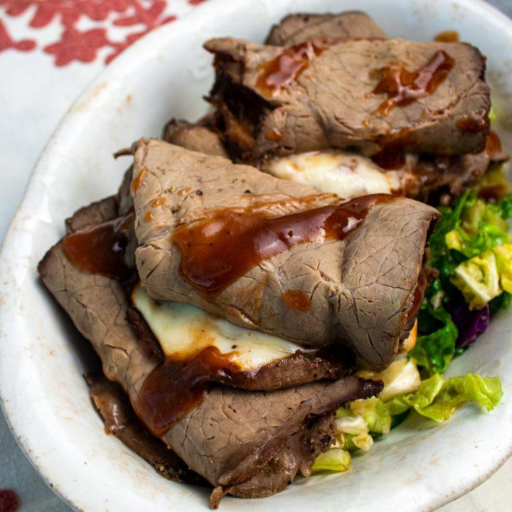 Easy keto lunch of roast beef keto wrap.