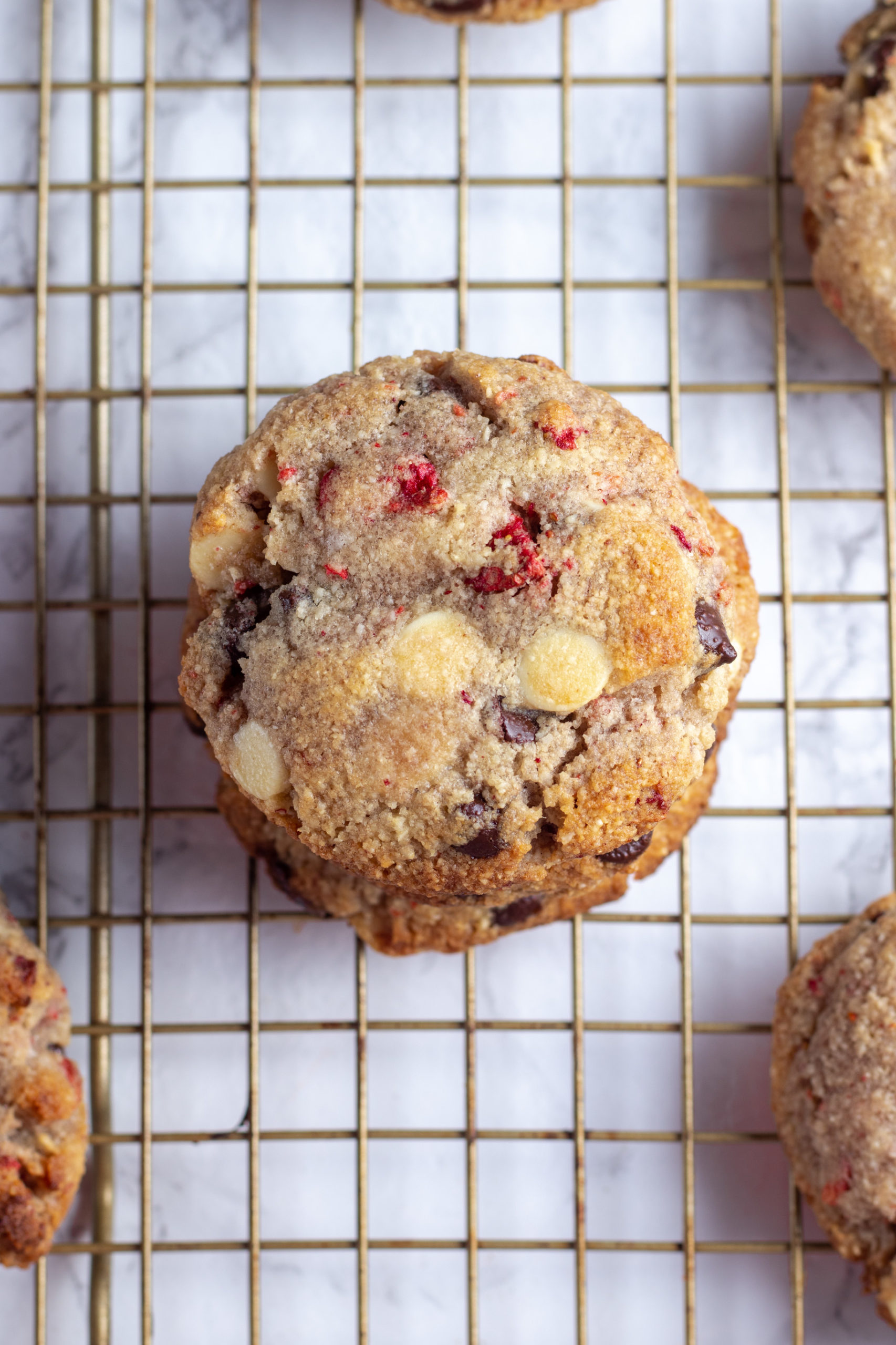 Low carb chocolate chip cookies with strawberry and white chocolate.