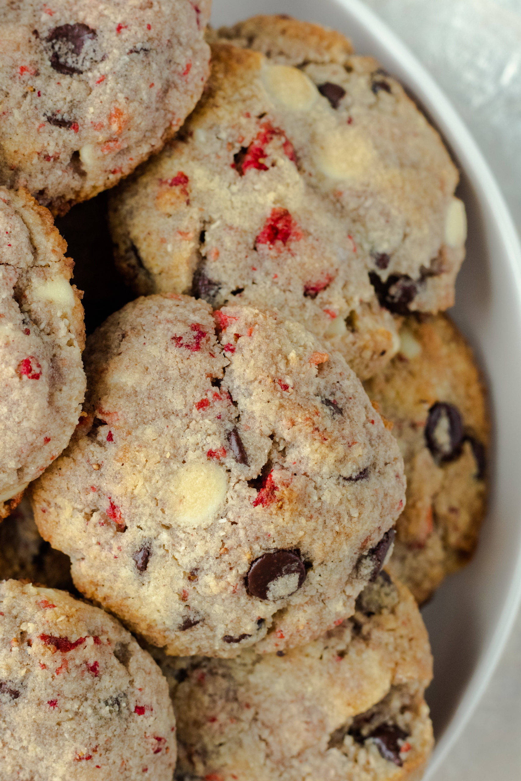 Low carb cookies with strawberries, dark chocolate, and white chocolate chips.
