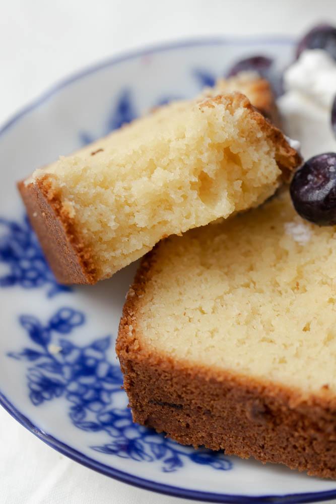 Slice of keto pound cake.